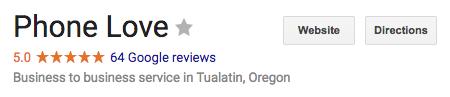 Phone Love Google Reviews